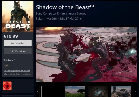 shadow of the beast psn  mai release