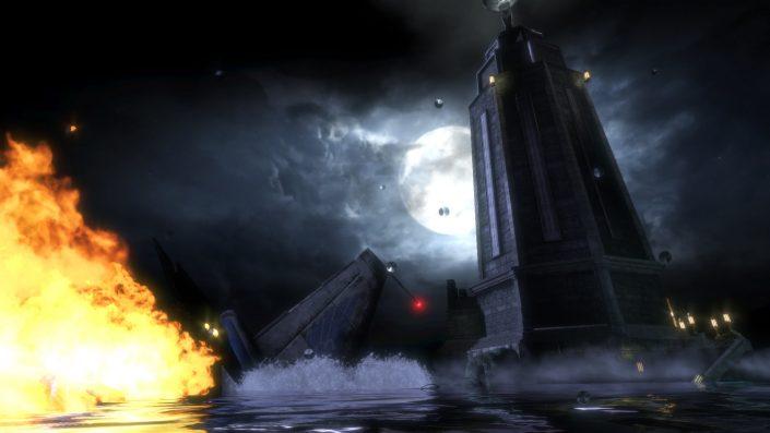 Mehr Details, bessere Texturen: Mond und Himmel hinterm Leuchtturm etwa sehen nun deutlich detailreicher aus (BioShock 1).