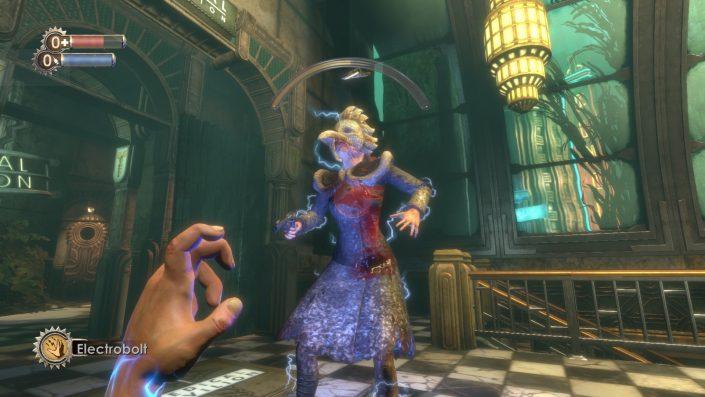 Szene aus BioShock 1: Flinke Splicer hält man am besten mit Elektro-Angriffen in Schach.