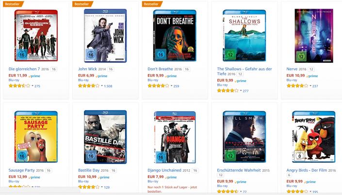 Amazon Angebot: 10 Blu-ray-Filme für 50 Euro