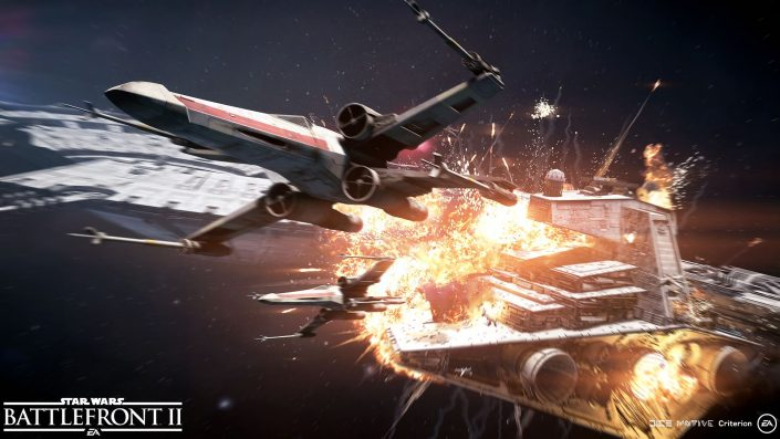 Star Wars Battlefront 2 Sternenjäger Angriff Screenshot4_Objective_CapitalShipsDestroyingDockedStarDestroyer_WM