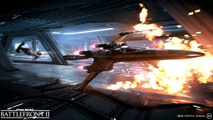 Star Wars Battlefront 2 Sternenjäger Angriff Screenshot5_BlackOne_Vs_TIESilencer_WM