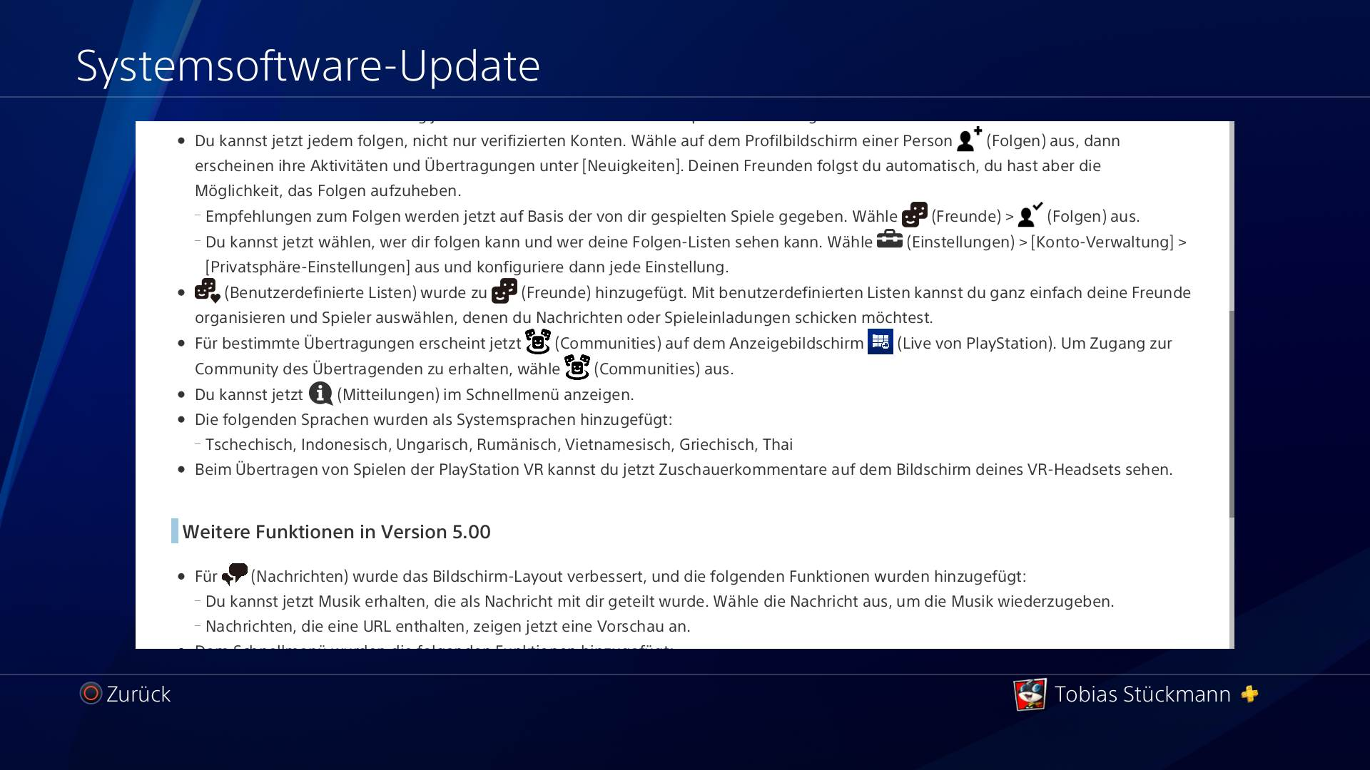 PlayStation 4 Firmware 5.00- Nobunaga Patchnotes – Bild 2