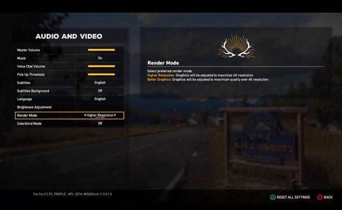 Far Cry 5 - Darstellungsmodi