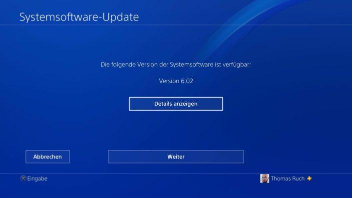 ps4 systemsoftware 6.02 herunterladen nicht möglich