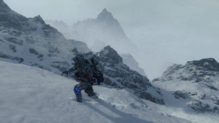 Death Stranding: Sam zeigt sich in verschneiter Umgebung