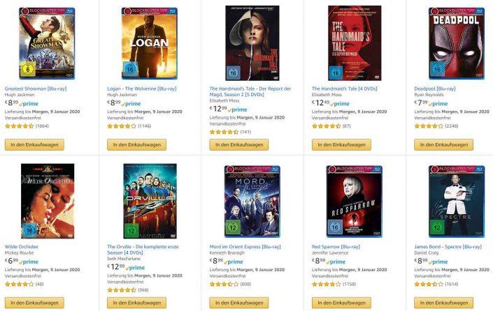 Amazon Deals: 3 für 2, 4k Blu-rays, Filme ab 5 Euro und mehr