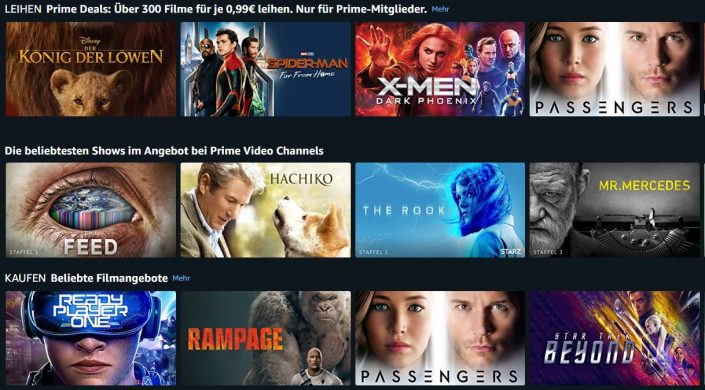 Amazon Prime: 300 Filme für je 99 Cent und weitere Angebote