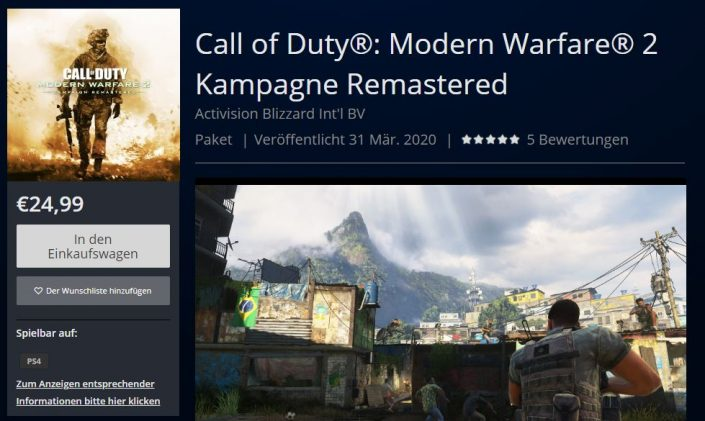 Call of Duty Modern Warfare 2 Remastered: Termin, Preis, Download-Größe – Enthüllung im PSN