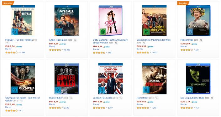 Amazon: 5 Blu-ray-Filme für 30 Euro im Angebot