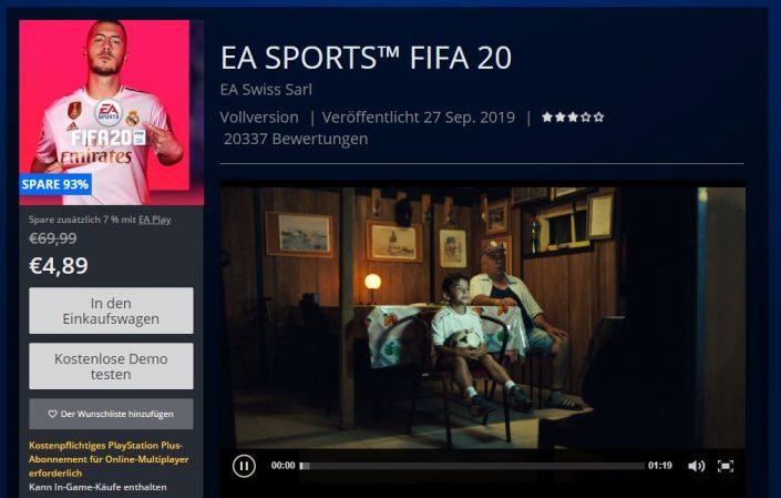 PSN Store Sale: Zahlreiche Blockbuster-Angebote – FIFA 20 für weniger als 5 Euro