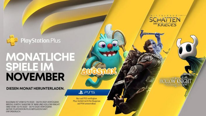 PS Plus November 2020: Gratis-Games zum Download bereit