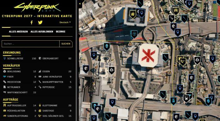 Cyberpunk 2077: Interaktive Map mit allen wichtigen Infos